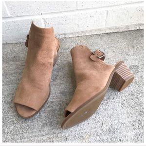 Lucky Brand Bray Tan Leather Peep Toe Booties
